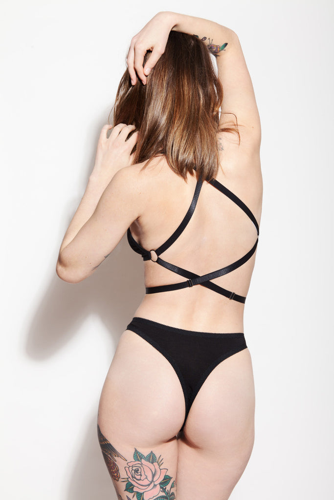 High Rise Thong Panty & Strappy Bralette | Sabrina & Rosemary by Hopeless Lingerie