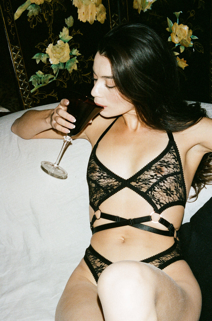 Black Lace Strappy Bodysuit | Hopeless Lingerie