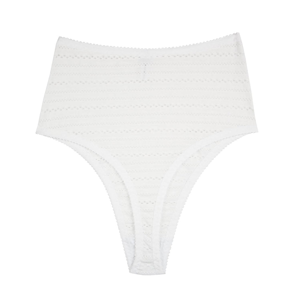 White Cotton High Rise Thong | Gwen by Hopeless Lingerie