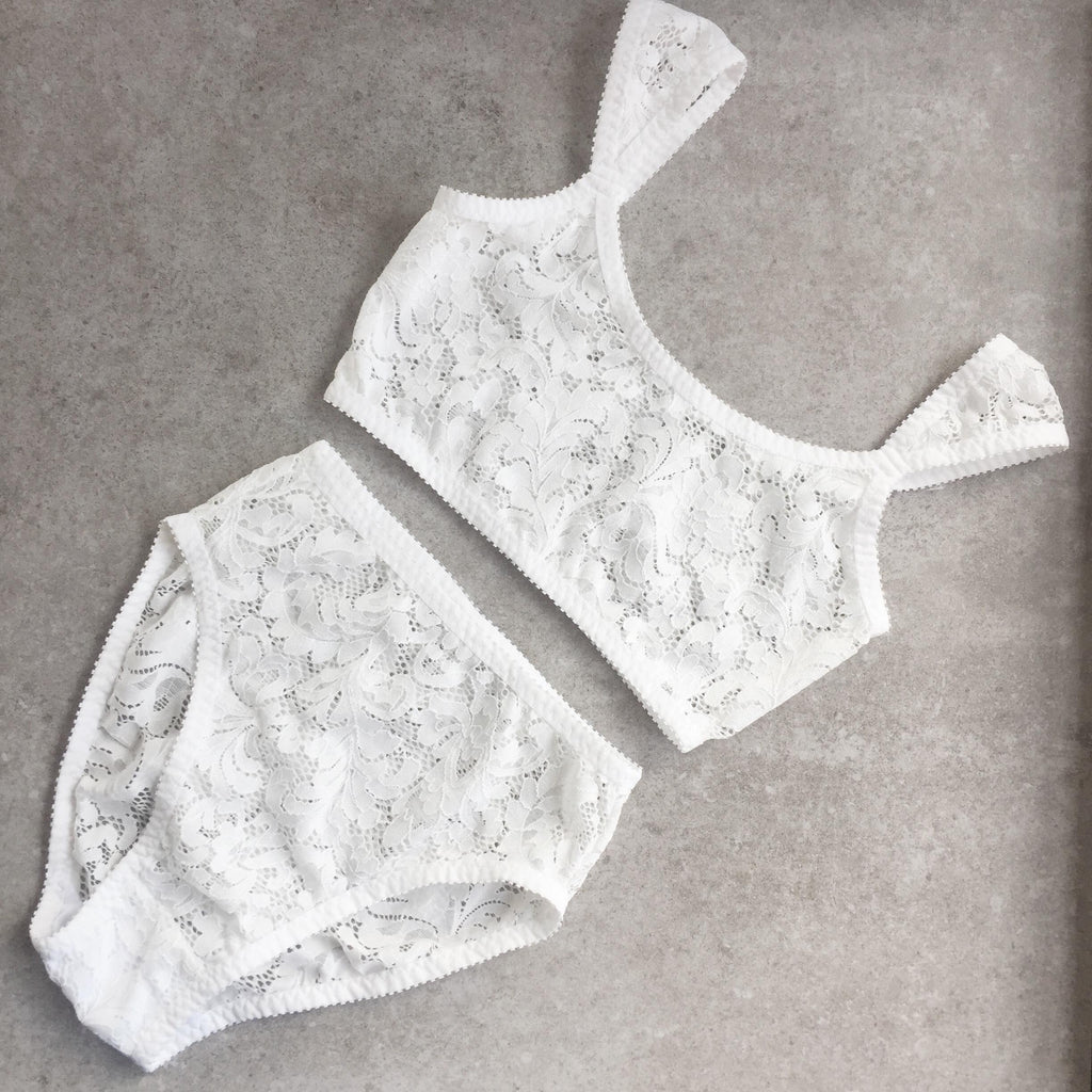White Lace Crop Top & Knickers | Mallory & Deanna by Hopeless Lingerie