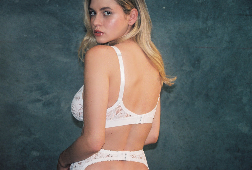 White Lace Strappy Bralette & White Lace Open Back Knickers | Pamela Bralette & Charlotte Knickers by Hopeless Lingerie