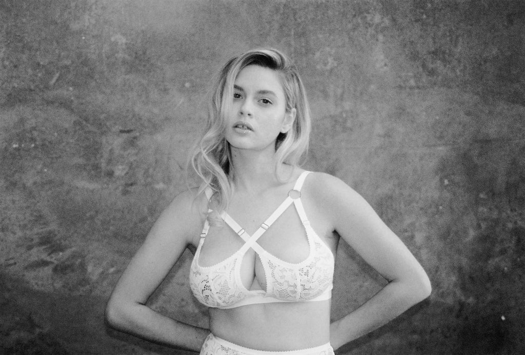 White Lace Strappy Bralette | Pamela Bralette by Hopeless Lingerie