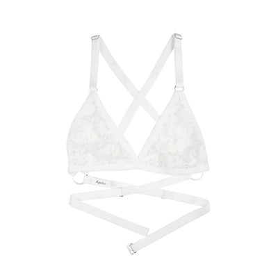 White Lace Strappy Bralette | Rosemary by Hopeless Lingerie