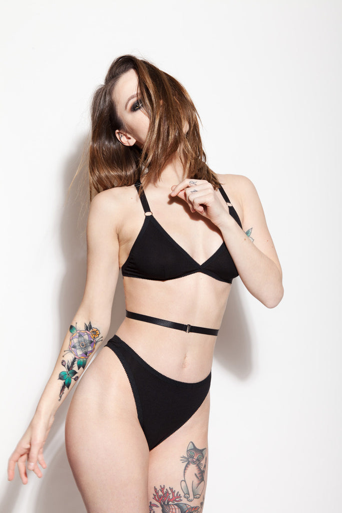 High Rise Thong & Strappy Bralette | Rosemary & Sabrina by Hopeless Lingerie