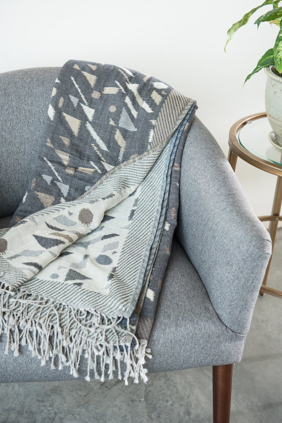 Slate Jacquard Throw