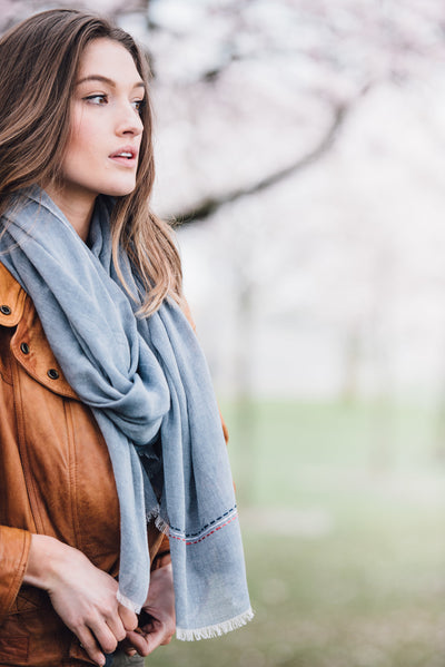 Agra Powder Blue Cotton Scarf