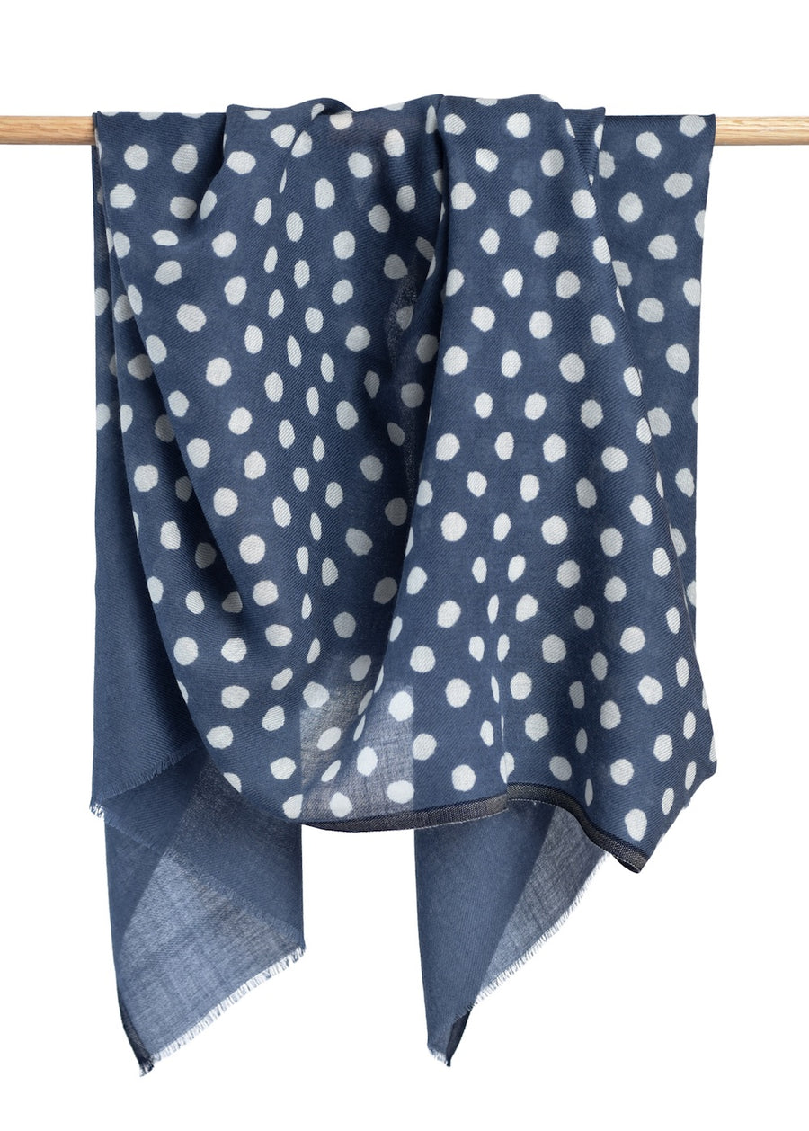 Maya Dot Scarf - English Blue