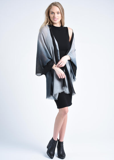 Jubilee Cashmere Scarf - Black/Gray