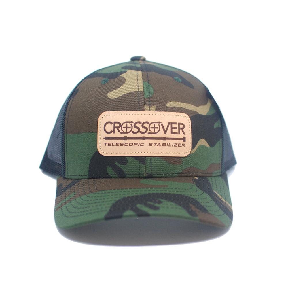 Camo Leather Patch - trucker snapback hat
