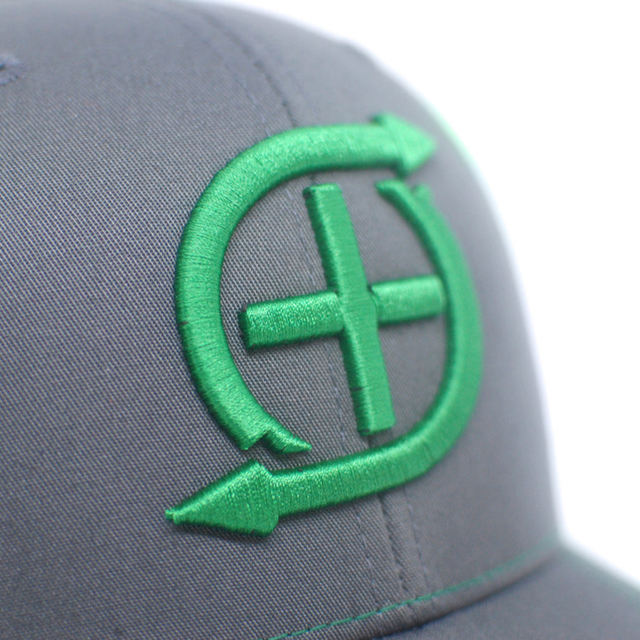 3D Embroidered Charcoal / Kelly Green - trucker snapback hat