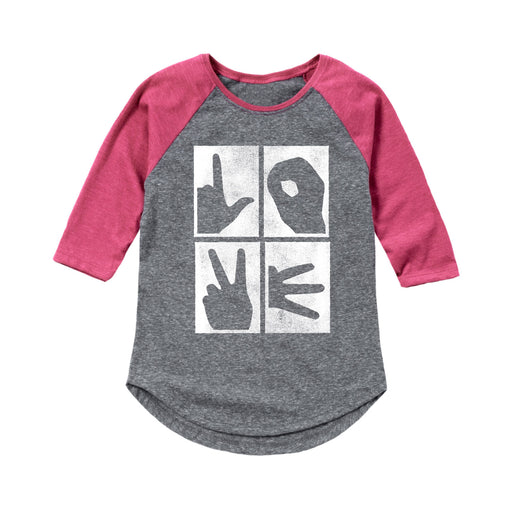 Love Hand Signs - Youth Girl Raglan