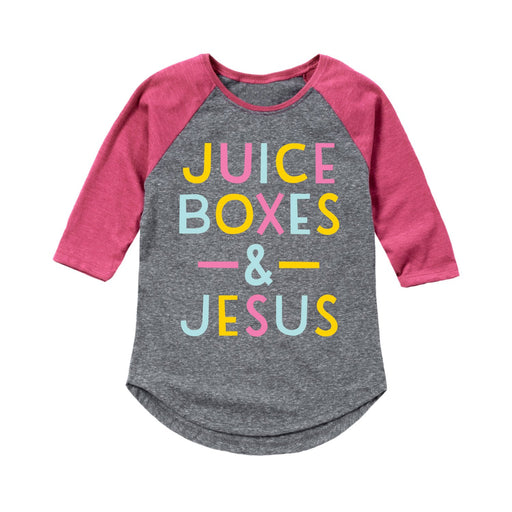 Juice Boxes And Jesus - Youth Girl Raglan