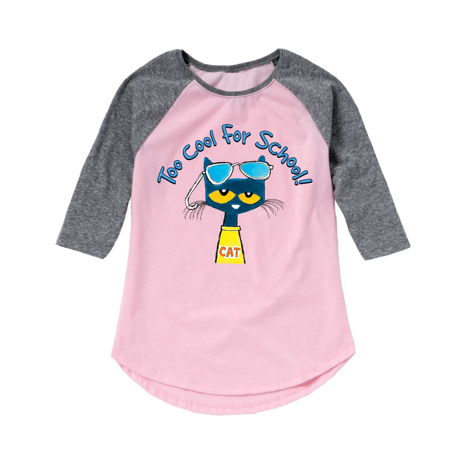 Pete The Cat Too Cool For School Multi - Youth Girl Raglan