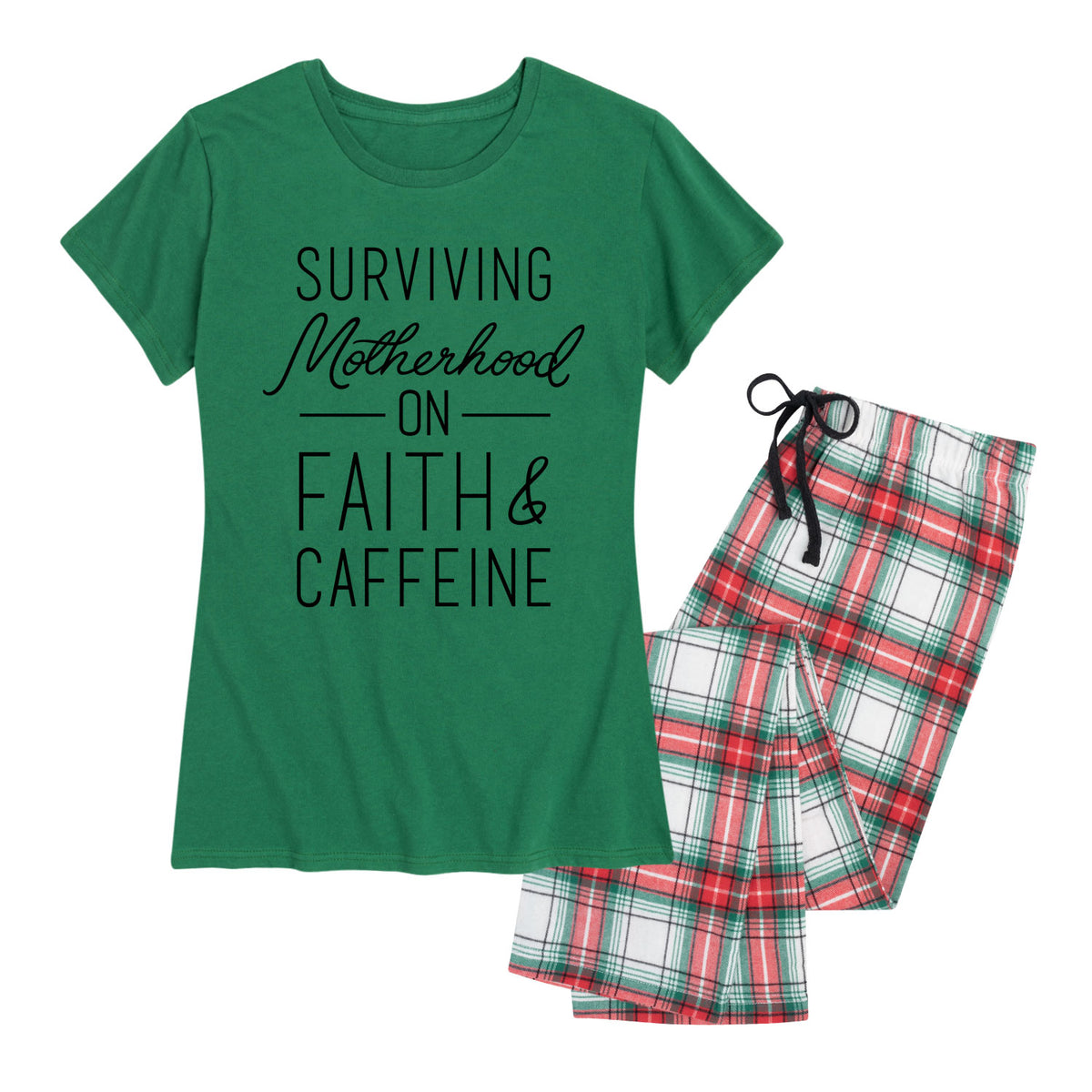 Surviving Motherhood On Faith And Caffeine - Women's Pajama Set