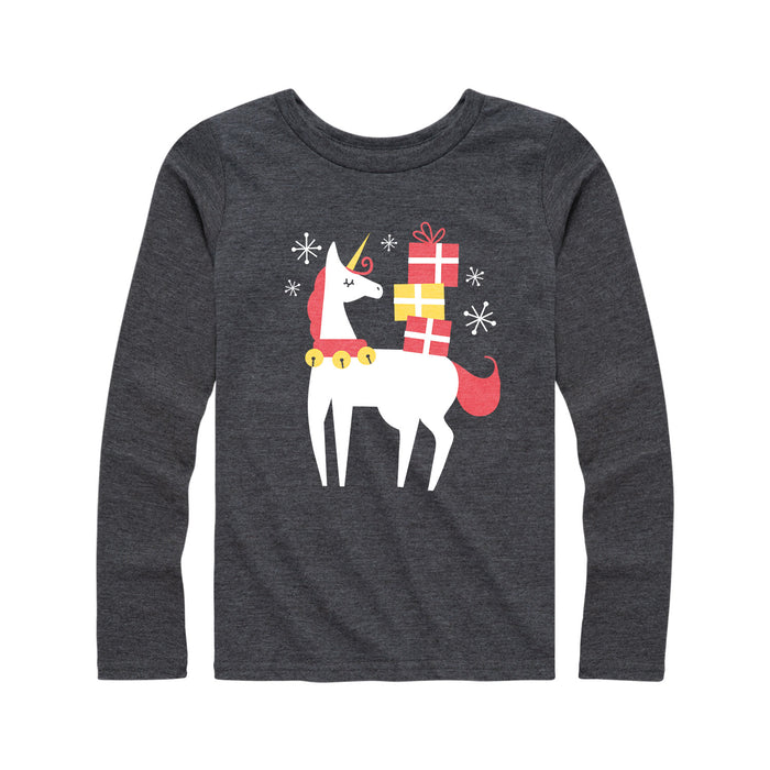 Christmas Unicorn - Youth Girl Long Sleeve T-Shirt