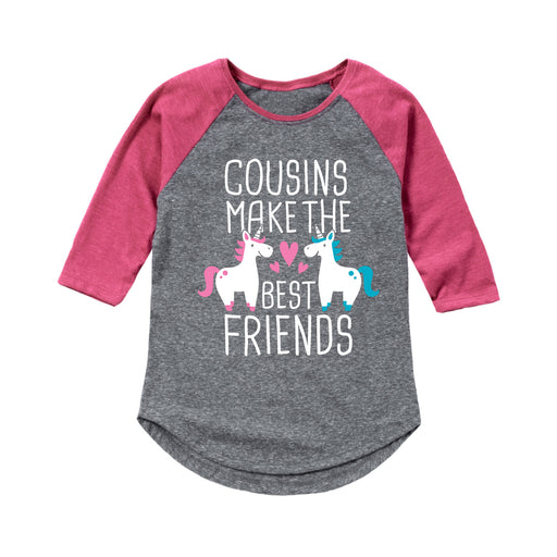 Cousins Best Friends Unicorn - Youth Girl Raglan