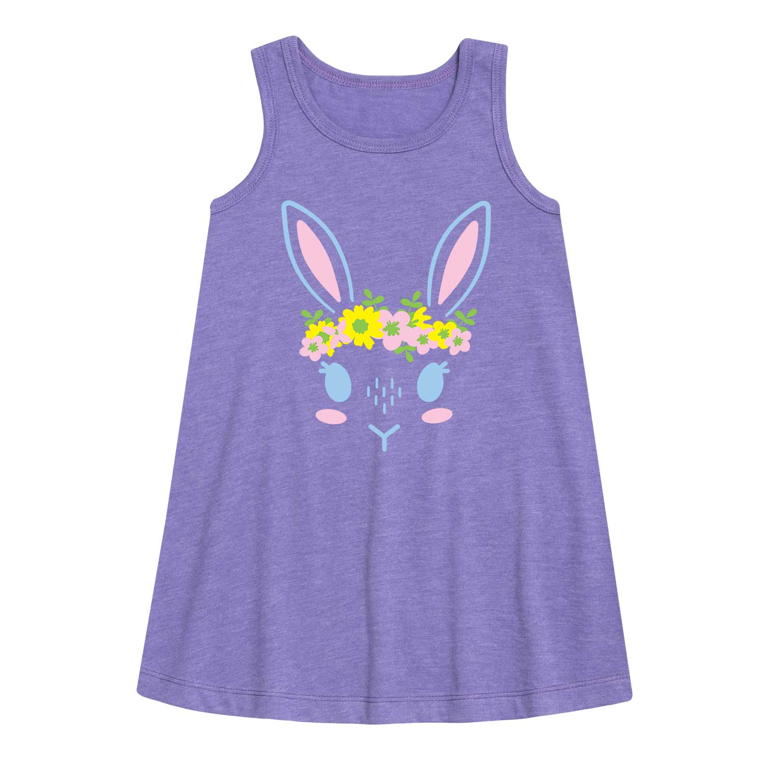 Bunny Face Floral Crown - Toddler Girl A-Line Dress