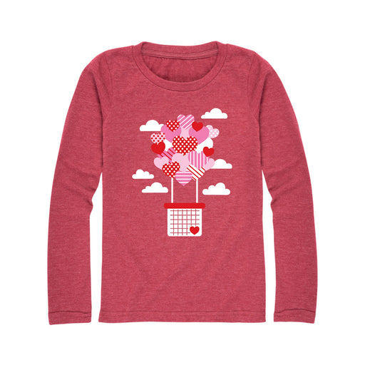 Heart Hot Air Balloon - Youth Girl Long Sleeve T-Shirt