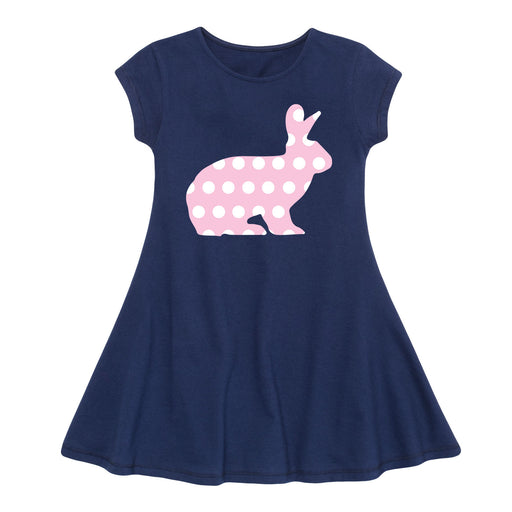 Patterned Bunny - Youth Girl Fit And Flare Dress