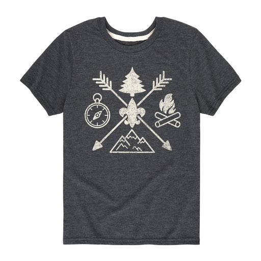 BSA Camp Symbols-Kids Short Sleeve Tee