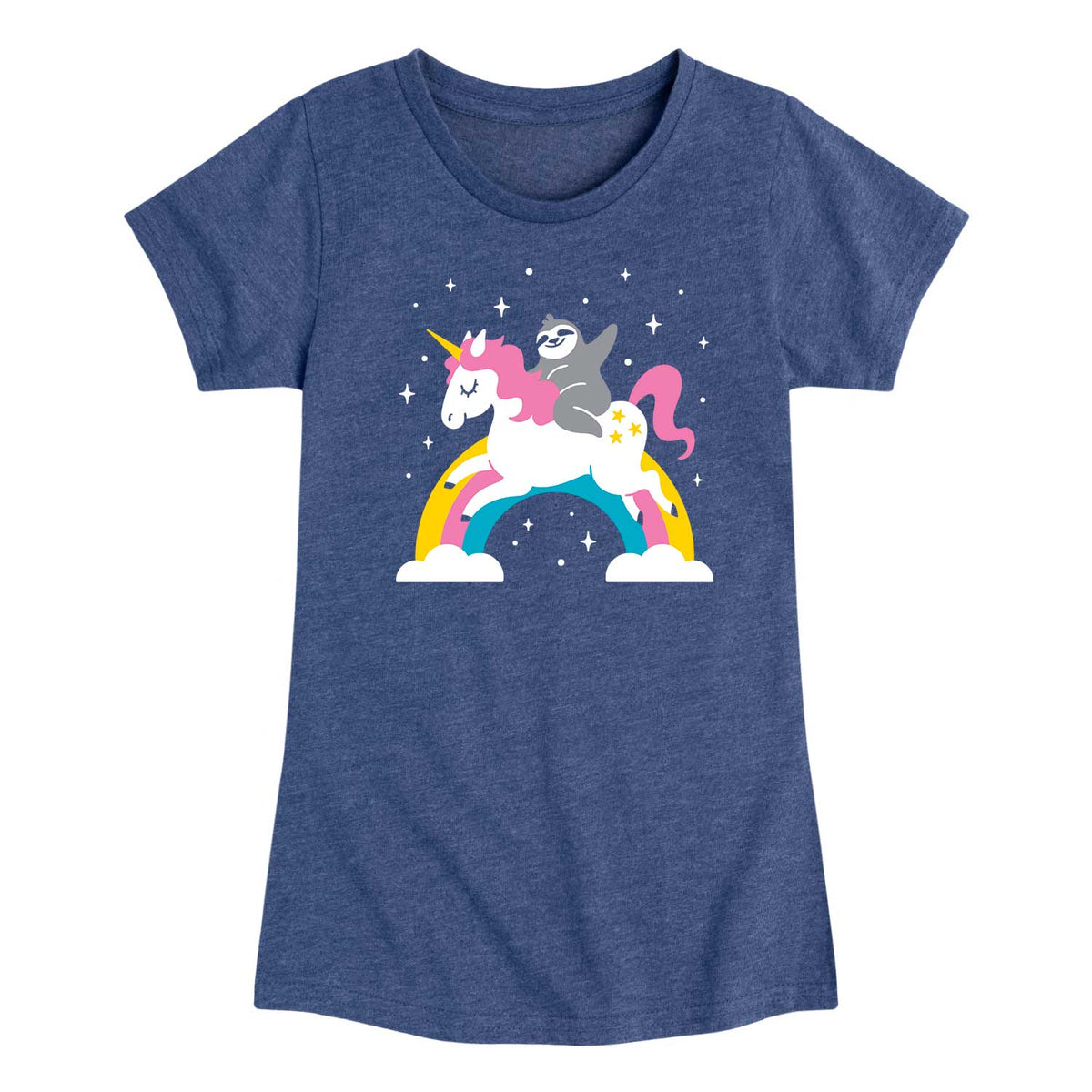 Sloth Riding Unicorn - Youth & Toddler Girls Short Sleeve T-Shirt