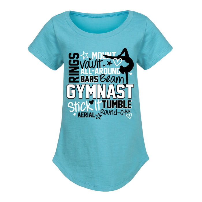 Gymnast Terms Youth Girls Curved Hem Tee
