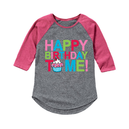 Happy Birthday To Me Cupcake - Youth Girl Raglan