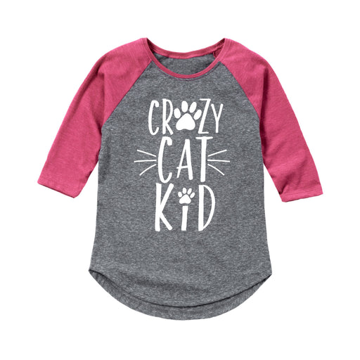 Crazy Cat Kid - Youth Girl Raglan