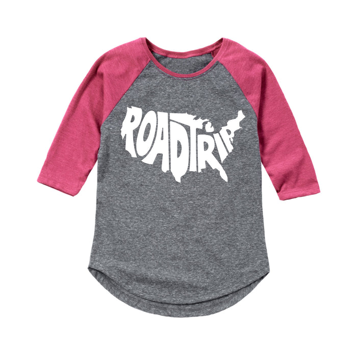 Roadtrip Us Map - Toddler Girl Raglan