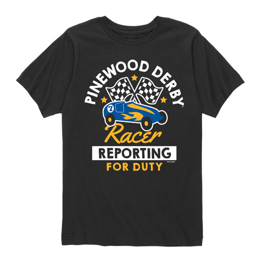BSA Pinewood Racer Reporting For Duty-Kids Short Sleeve Tee