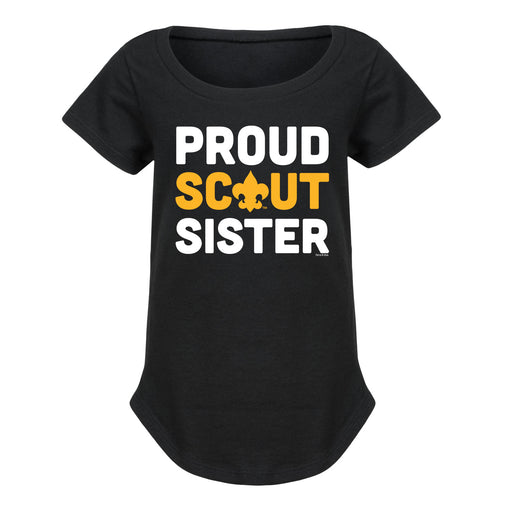 Proud Scout Sister - Youth Girl Short Sleeve Curved Hem T-Shirt