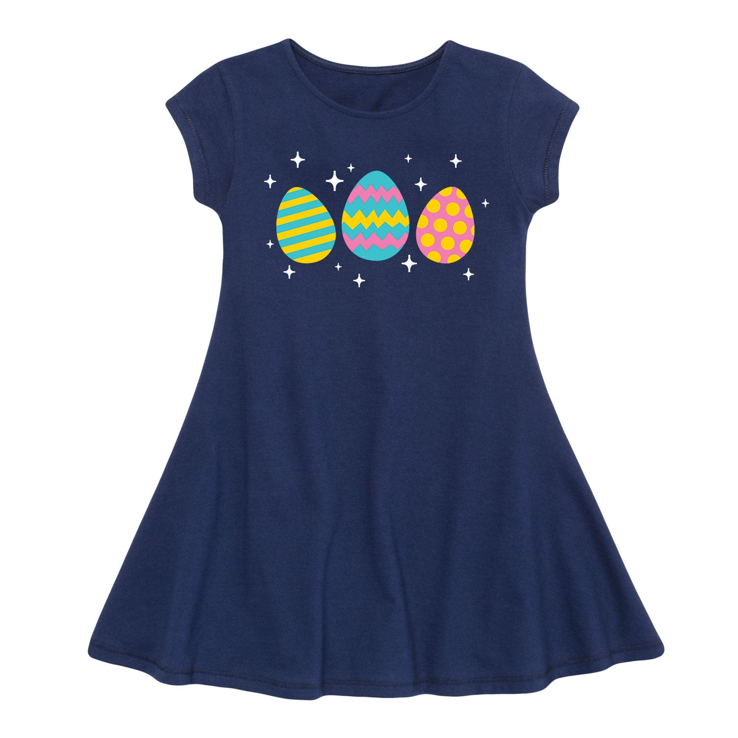 Sparkly Eggs - Toddler Girl Fit And Flare Dress