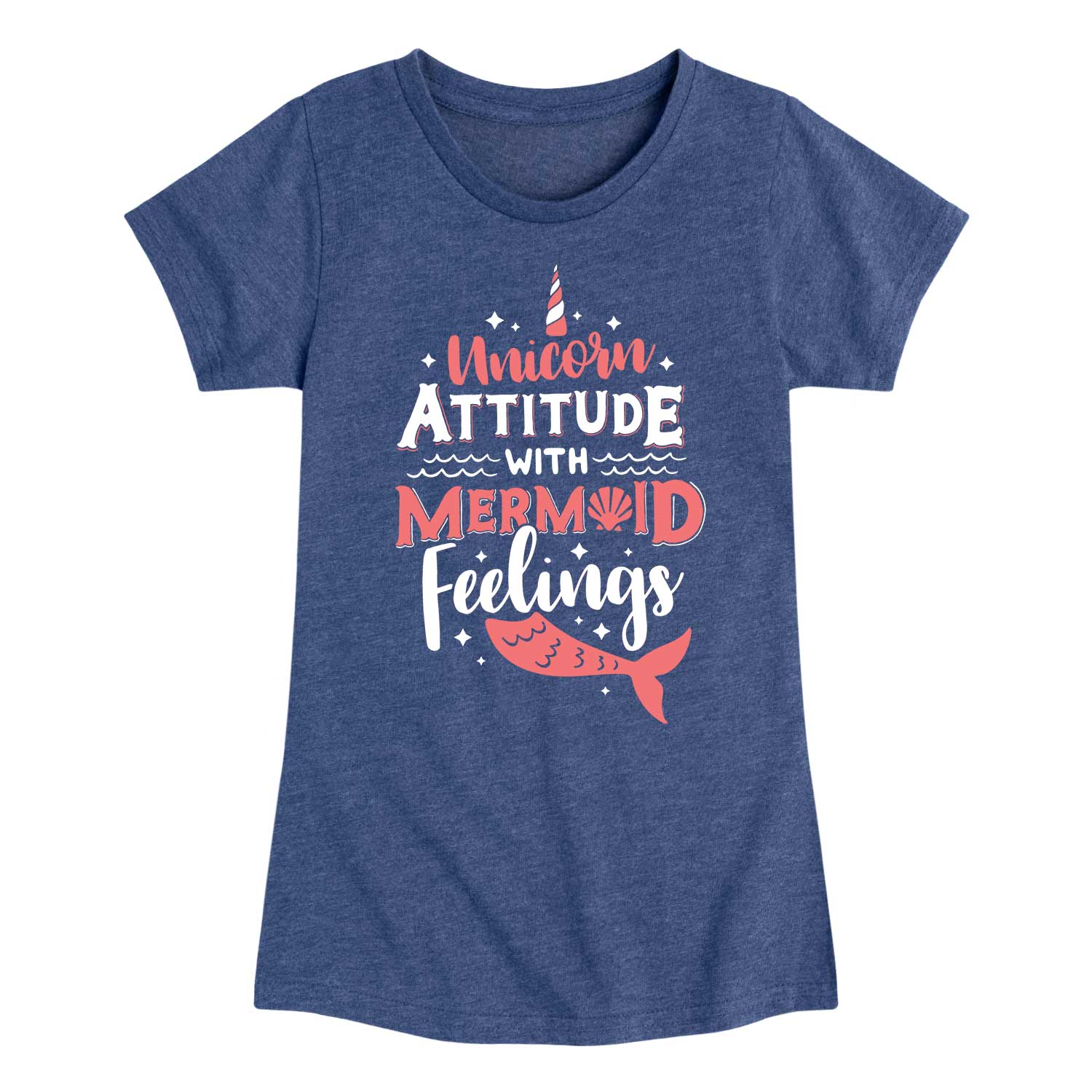 Unicorn Attitude with Mermaid Feelings - Youth & Toddler Girls Short Sleeve T-Shirt