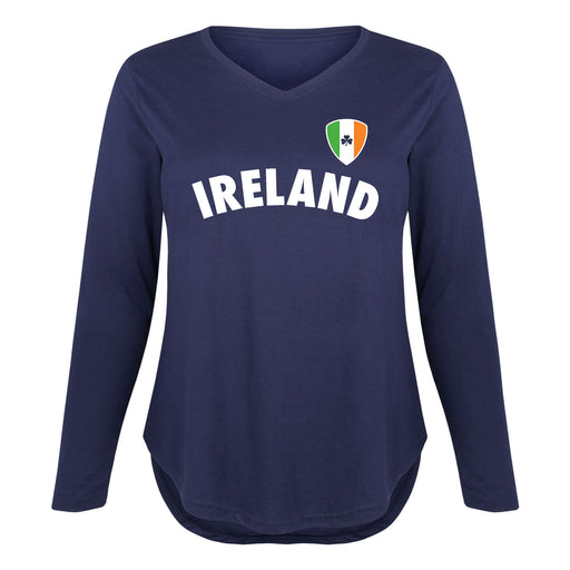Ireland Soccer Flag Shield - Women's Plus Size Long Sleeve T-Shirt