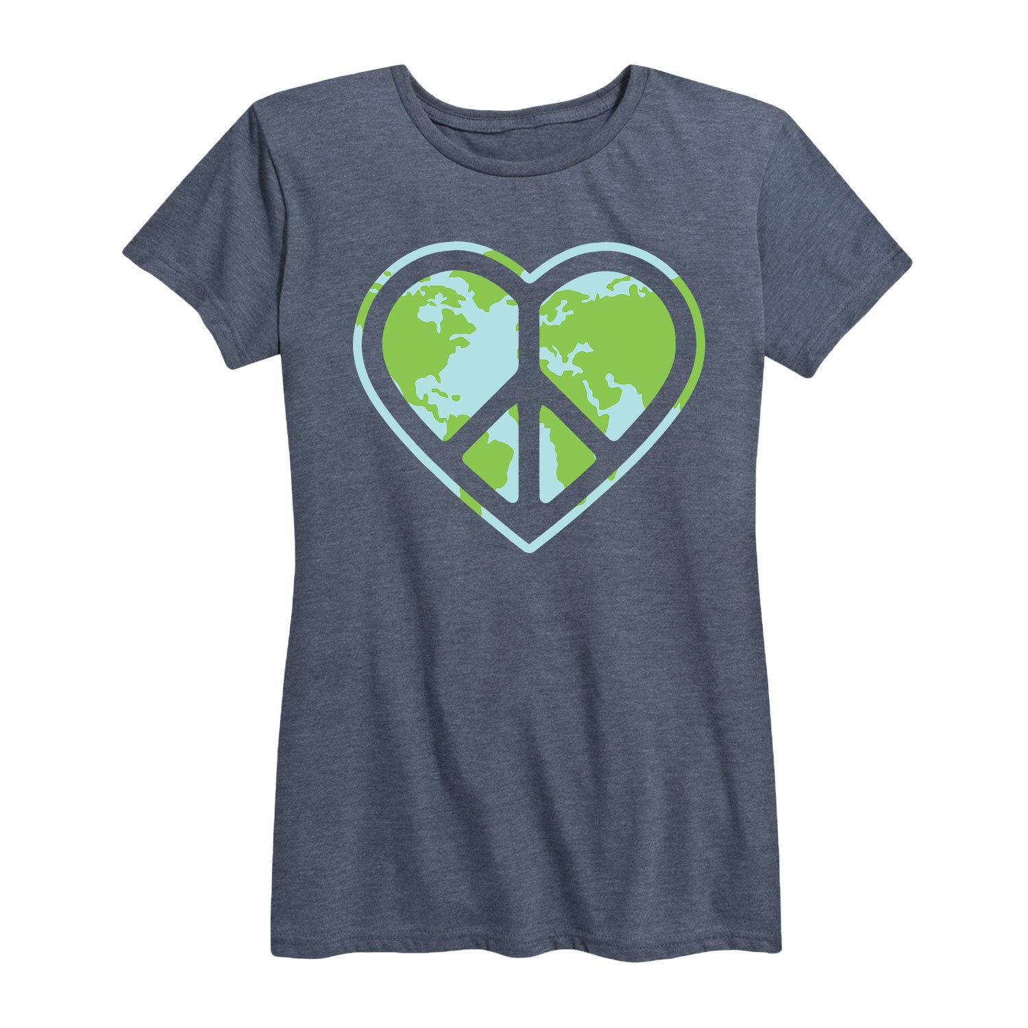 Heart Peace Sign Earth - Women's Short Sleeve T-Shirt