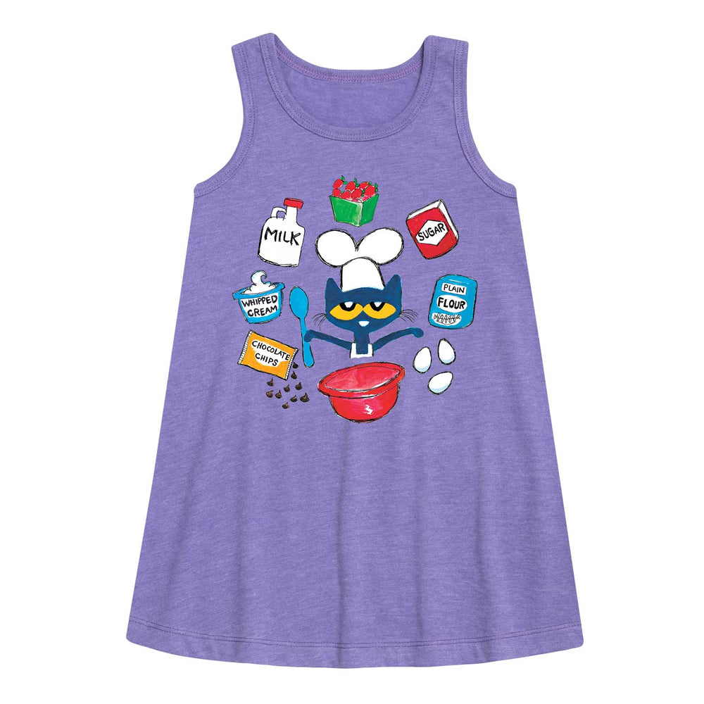 Pete The Cat Baking Ingredients - Youth Girl A-Line Dress