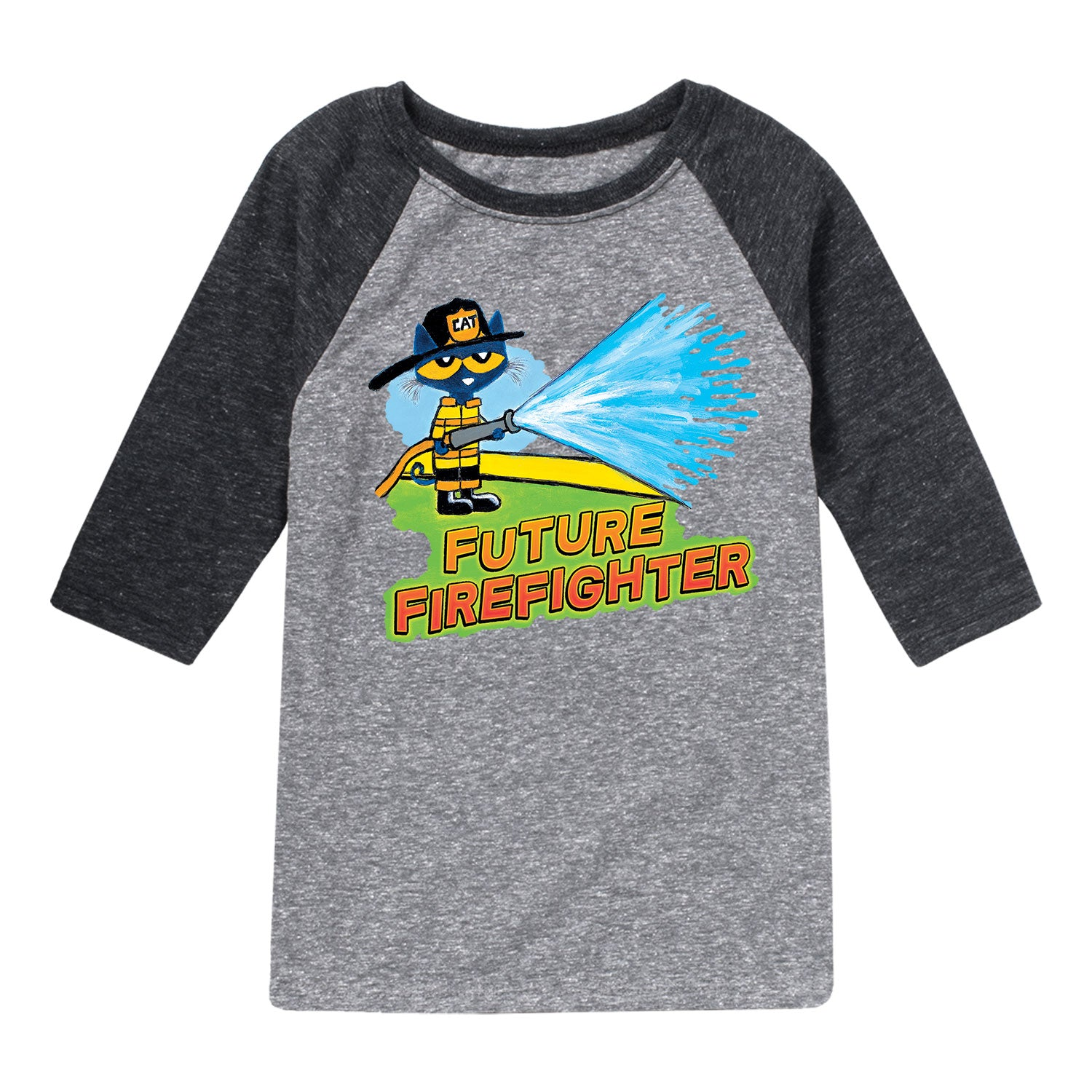 Pete The Cat Future Firefighter Kids - Toddler Raglan