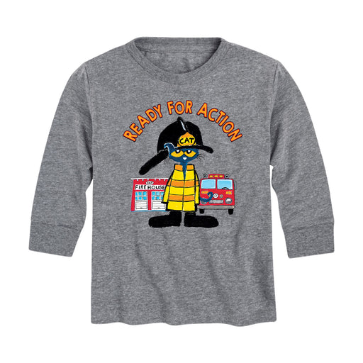 Pete The Cat Ready For Action - Toddler Long Sleeve T-Shirt