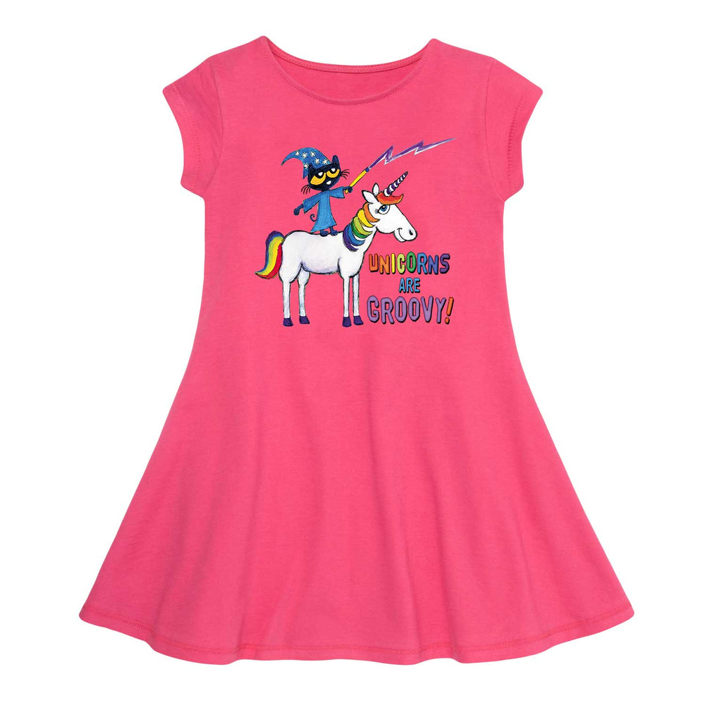 Pete The Cat Unicorns Are Groovy - Toddler Girl  Fit And Flare Dress