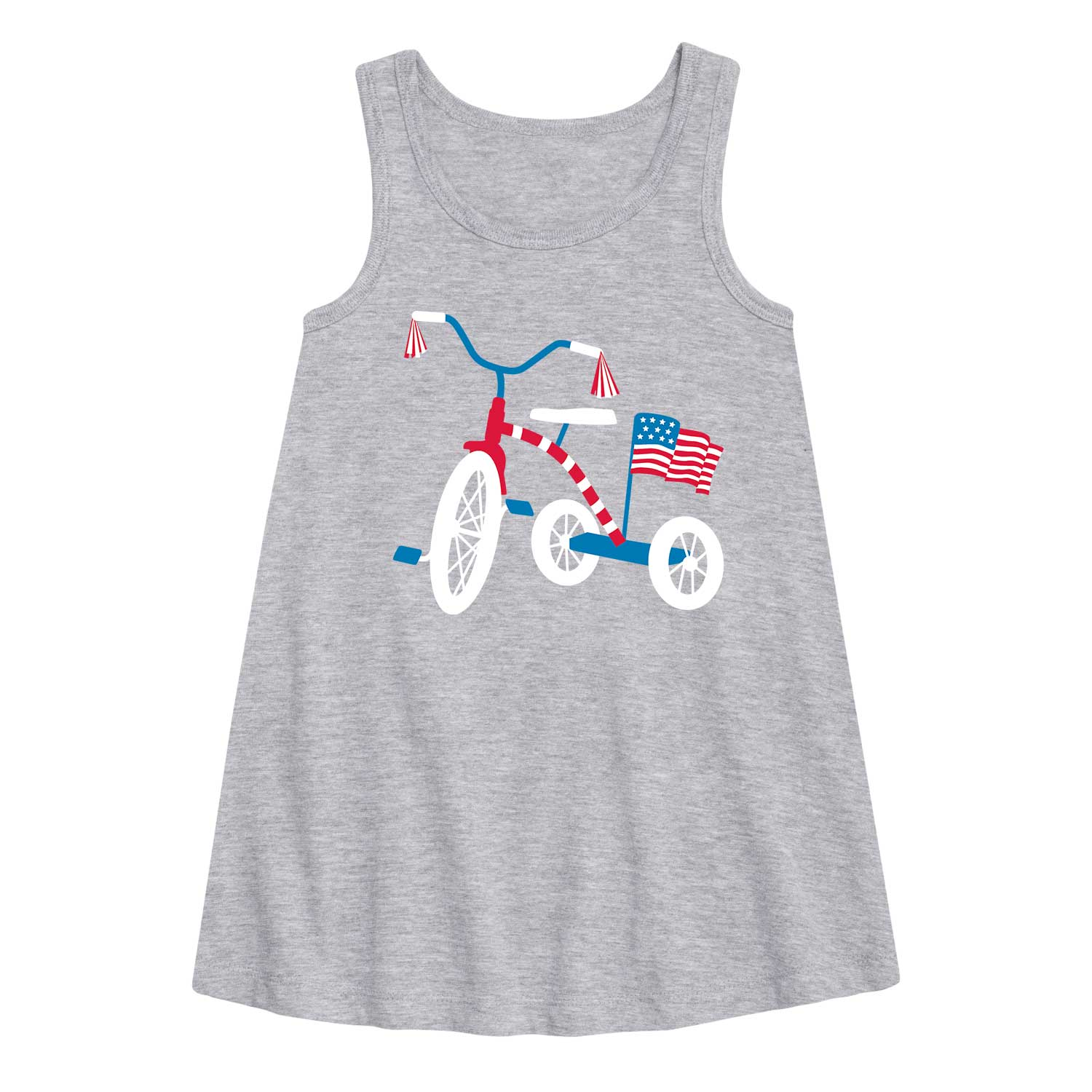 Patriotic Tricycle - Toddler Girl A-Line Dress