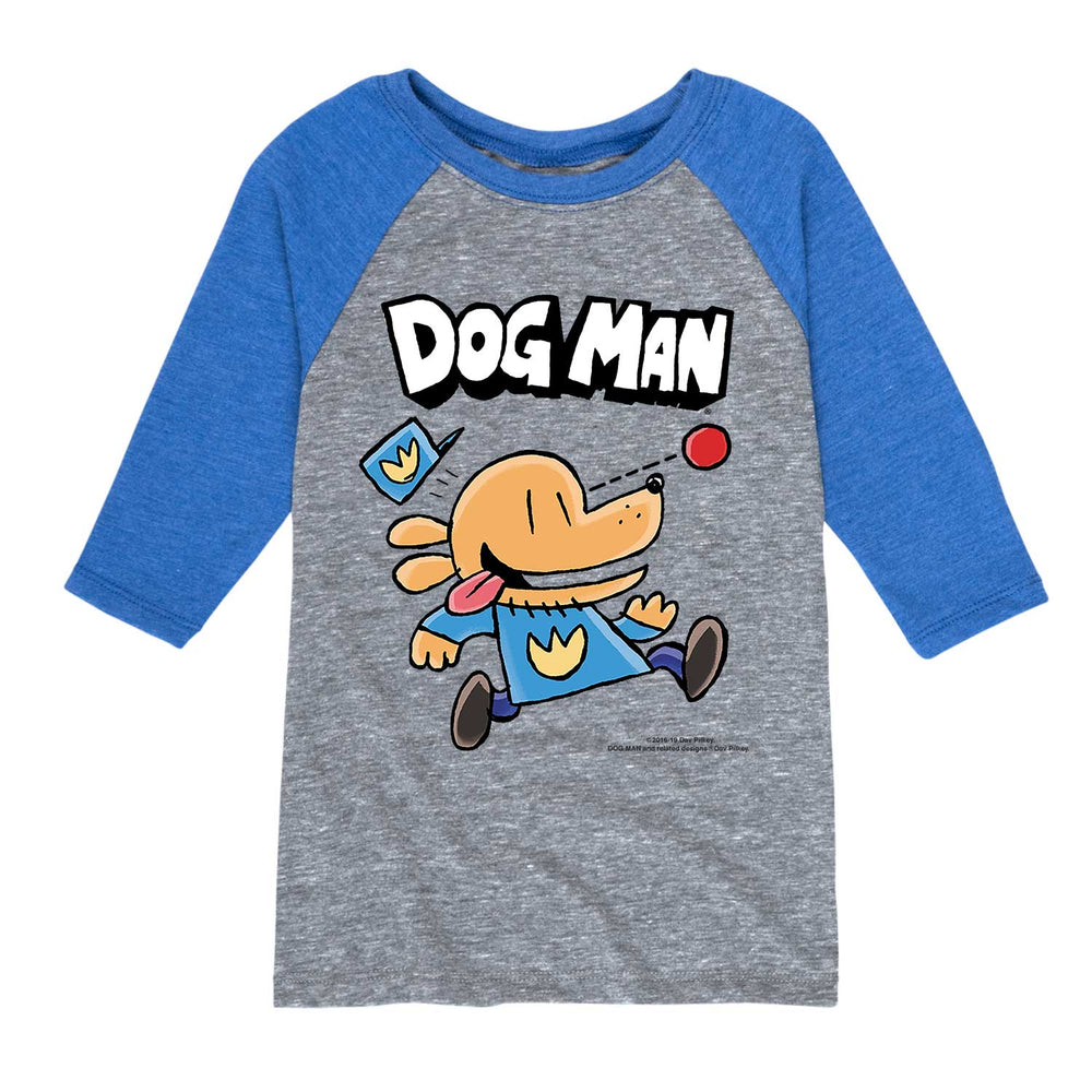 Dog Man Chasing Ball - Youth & Toddler Raglan