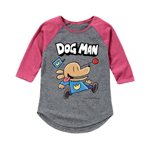 Dog Man Chasing Ball - Toddler Girl Raglan