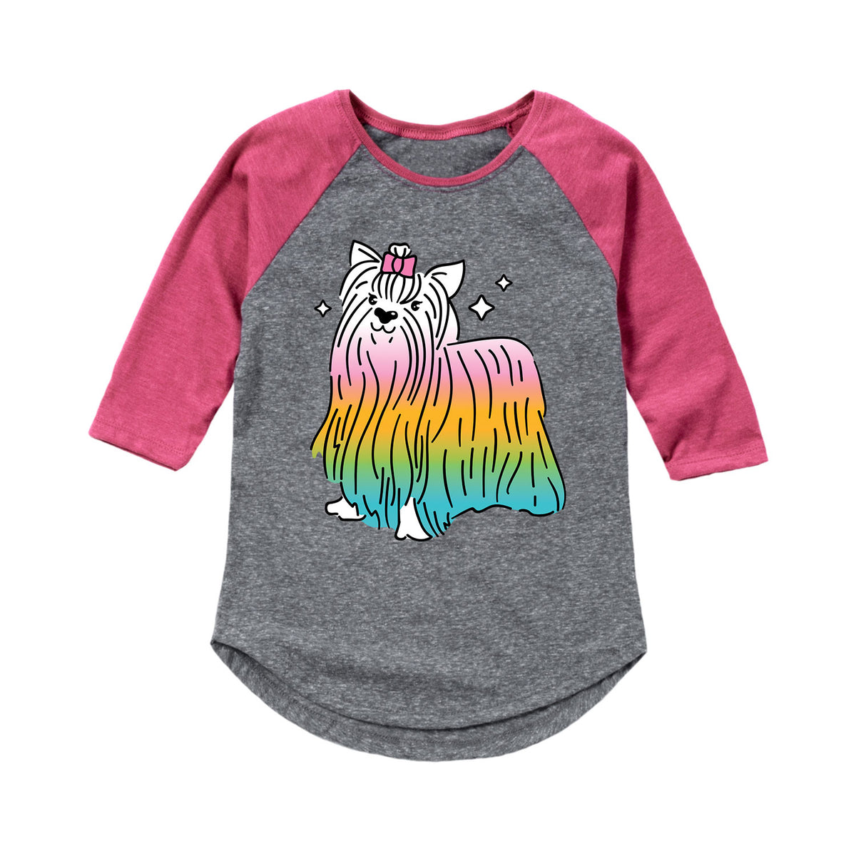 Rainbow Yorkie - Youth Girl Raglan