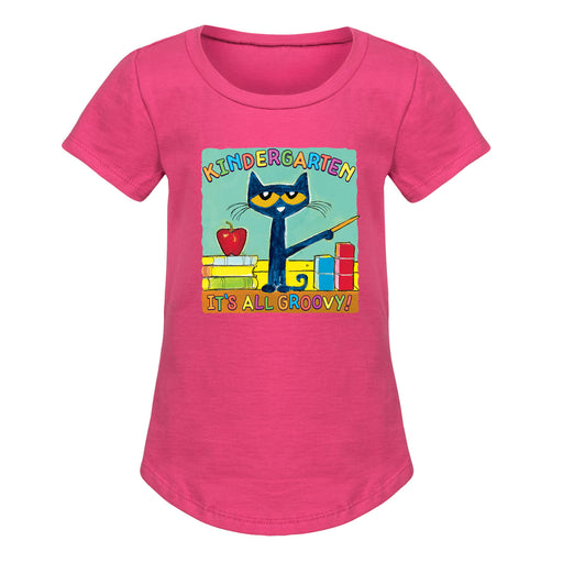 Pete The Cat Kindergarten It's All Groovy - Toddler Girl Short Sleeve T-Shirt