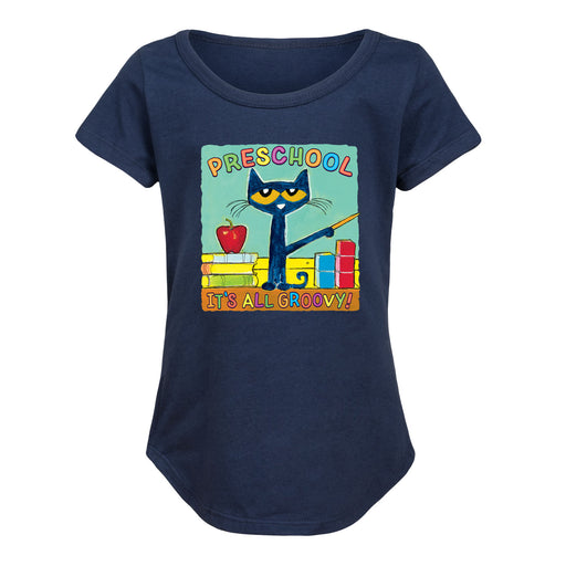 Pete The Cat Preschool It's All Groovy - Toddler Girl Short Sleeve T-Shirt