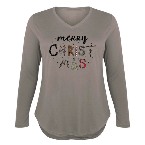 Merry Christmas Country Symbols - Women's Plus Size Long Sleeve T-Shirt