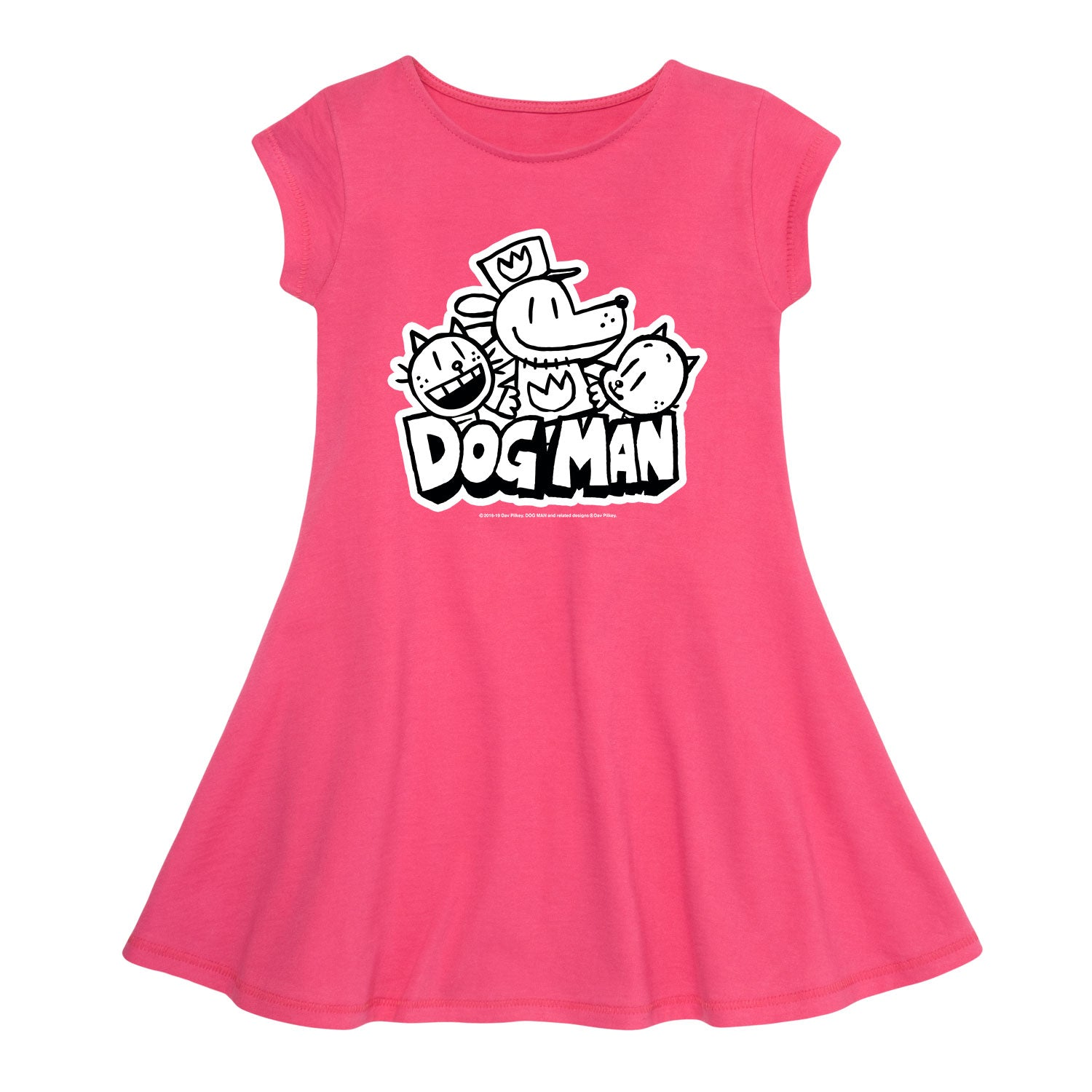 Dog Man Black and White - Youth Fit And Flare Dress