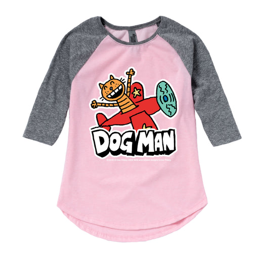 Dog Man - Petey On A Plane - Toddler Girl Raglan