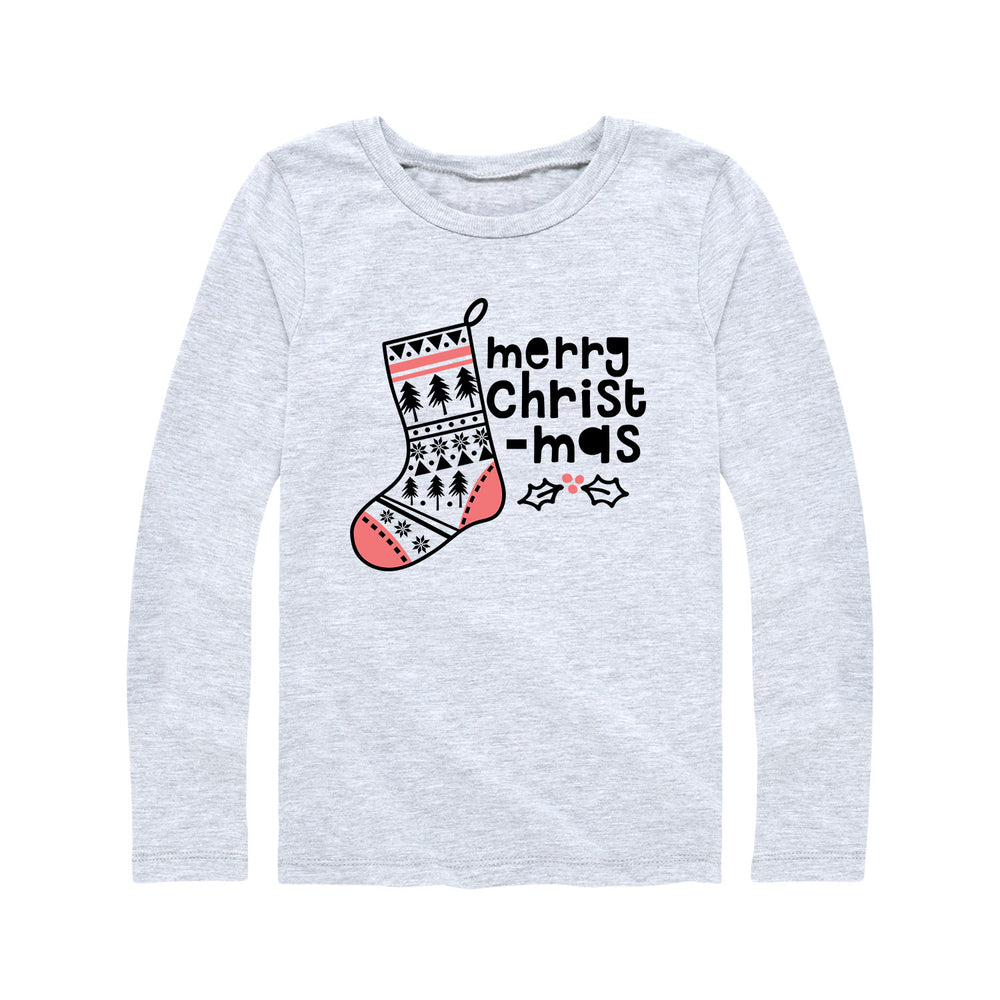 Merry Christmas Stocking - Youth Girl Long Sleeve T-Shirt