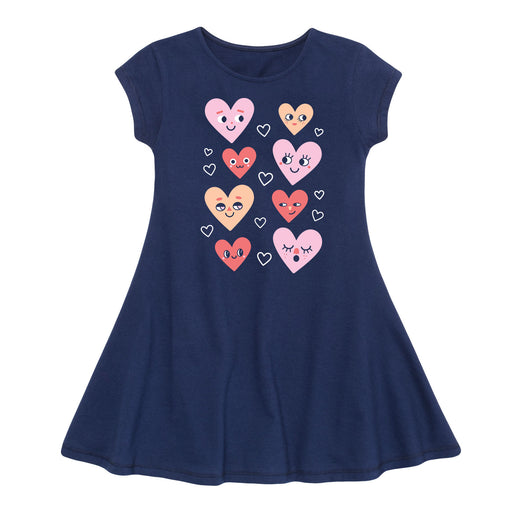 Heart Face Grid - Toddler Fit And Flare Dress